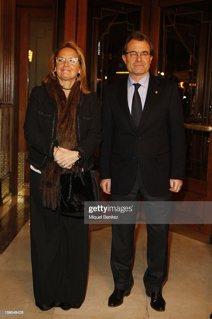 President of the Catalan regional government <a gi-track='captionPersonalityLinkClicked' href=/galleries/search?phrase=Artur+Mas&family=editorial&specificpeople=712829 ng-click='$event.stopPropagation()'>Artur Mas</a> (R) and Helena Rakosnik attend the 69th Nadal literature award on January 6, 2013 in Barcelona, Spain.