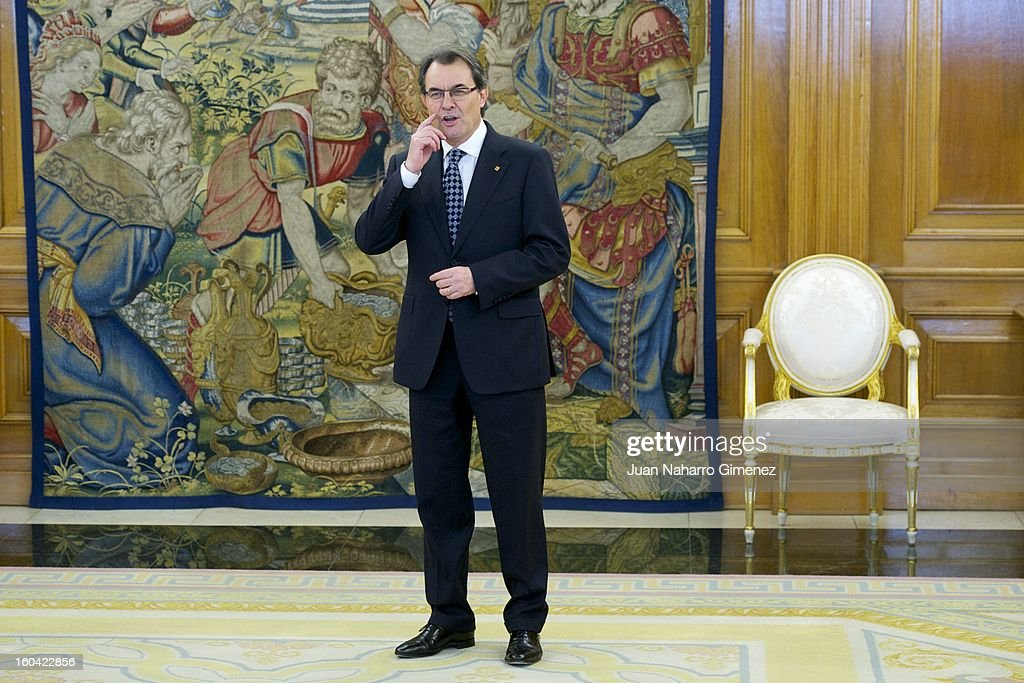 President of the Catalonian regional government <a gi-track='captionPersonalityLinkClicked' href=/galleries/search?phrase=Artur+Mas&family=editorial&specificpeople=712829 ng-click='$event.stopPropagation()'>Artur Mas</a> arrives for an audience with King Juan Carlos of Spain at Zarzuela Palace on January 31, 2013 in Madrid, Spain.