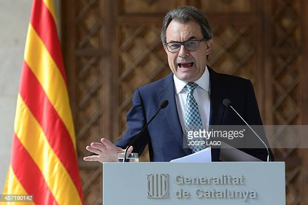 President of the Catalonian regional government Artur Mas gives a press conference at the Generalitat of Catalonia in Barcelona on October 14 2014...