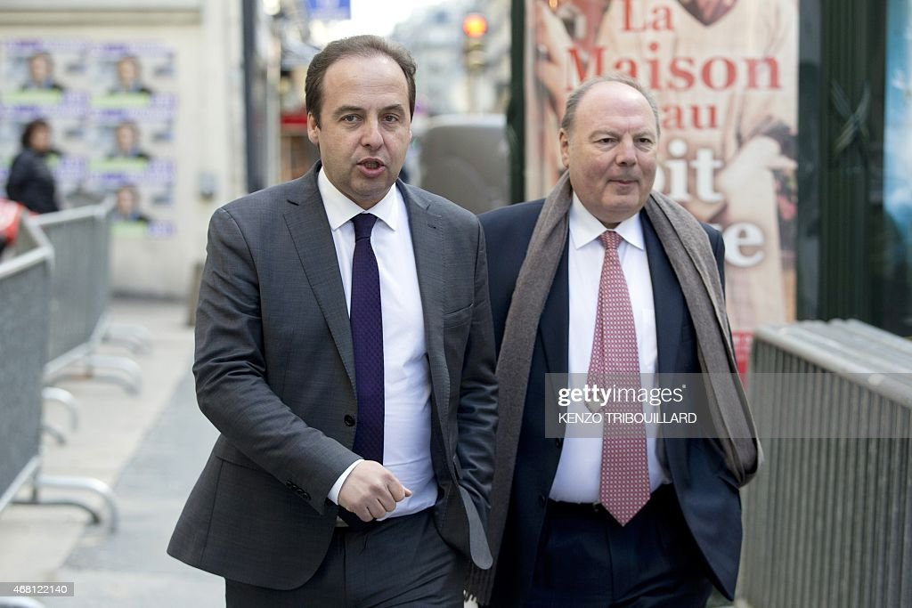 President of the center-right party UDI <a gi-track='captionPersonalityLinkClicked' href=/galleries/search?phrase=Jean-Christophe+Lagarde&family=editorial&specificpeople=7499467 ng-click='$event.stopPropagation()'>Jean-Christophe Lagarde</a> (L) arrives for a meeting at the UMP right-wing party headquarters in Paris on March 30, 2015.