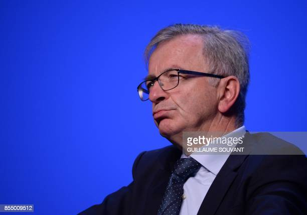 President of the Centre Val de Loire region Francois Bonneau listens to a speech during the opening of the Congress of French Regions on September 28...