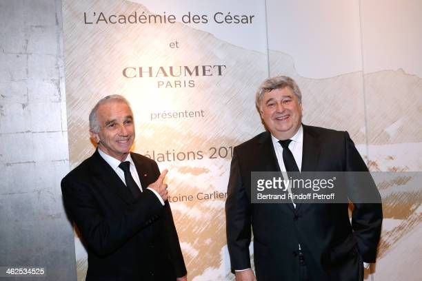President of the 'Cesar' the French Academy awards Alain Terzian and CEO Chaumet Thierry Fritsch at the Chaumet's Cocktail Party for Cesar's...