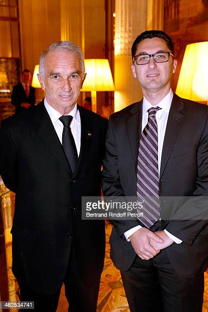 President of the 'Cesar' the French Academy awards Alain Terzian and Member of the Executive of Canal Plus France Maxime Saada at the Chaumet's...