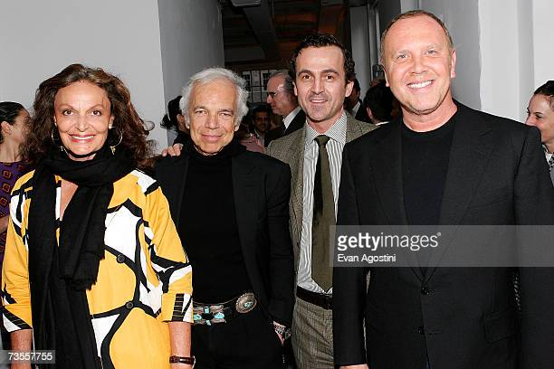 President of the CFDA designer Diane von Furstenberg designer Ralph Lauren executive director of CFDA Steven Kolb and designer Michael Kors attend...