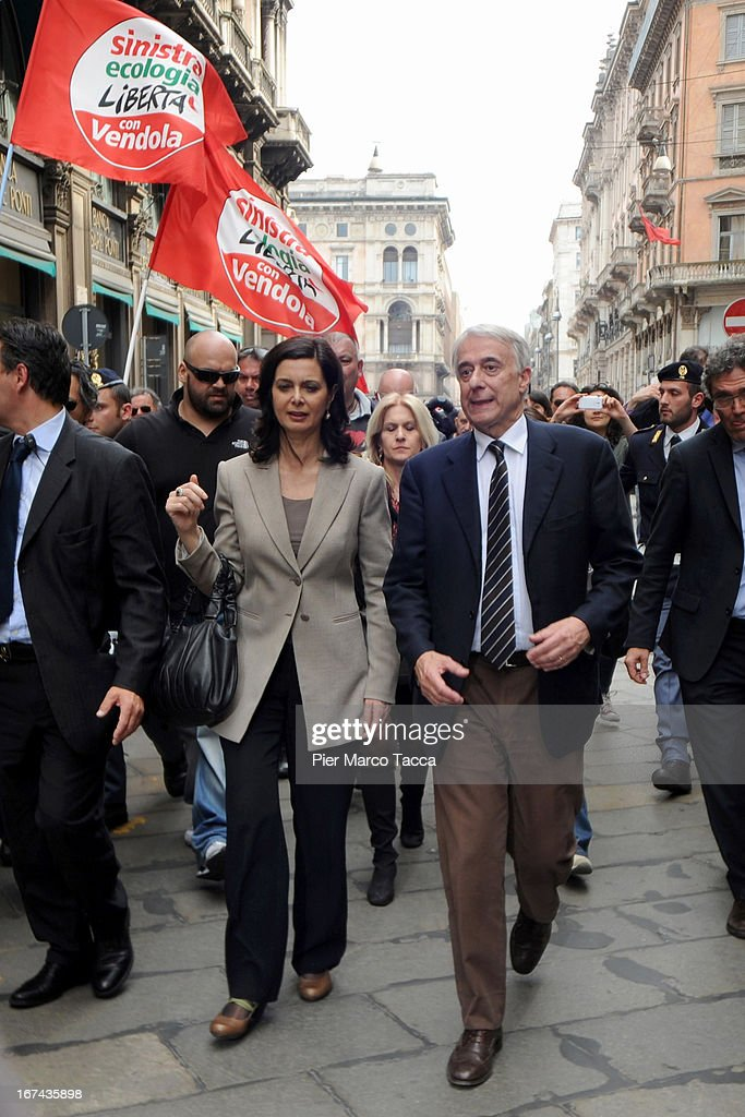 President of the Chamber of Deputies Laura Boldrini and Mayor of Milan Giuliano Pisapia during celebrations to mark the 68th Festa della Liberazione on April 25, 2013 in Milan, Italy.The symbolic celebration day commemorates the Liberation of Italy and the Italian resistance movement after the Nazi occupation army left Northern Italy on April 25, 1945.