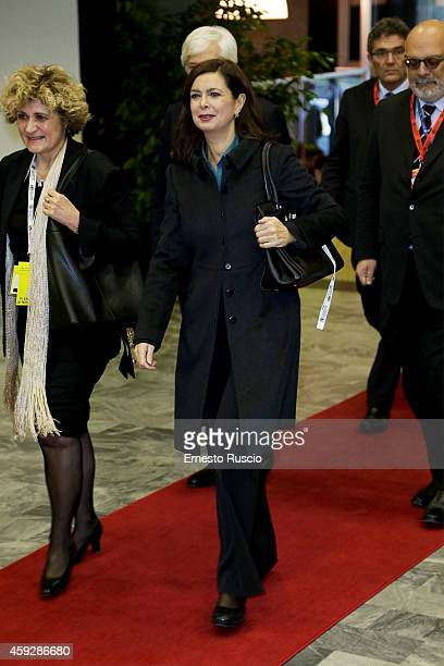 President of the Chamber of Deputies Laura Boldrini arrived at FAO during Second International Conference on Nutrition on November 20 2014 in Rome...