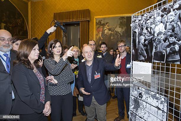President of the Chamber of Deputies Laura Boldrini attends a photograph exhibition of Mario Boccia with Rada Zarkovic entrepreneur the 'Cooperativa...