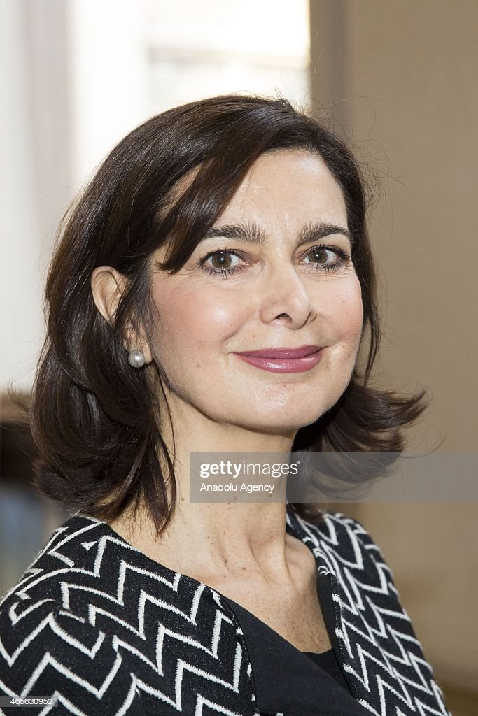 President of the Chamber of Deputies <a gi-track='captionPersonalityLinkClicked' href=/galleries/search?phrase=Laura+Boldrini&family=editorial&specificpeople=4364882 ng-click='$event.stopPropagation()'>Laura Boldrini</a> attends an organization held within the International Women's Day by the women who escaped from Srebrenica massacre, in Rome, Italy on March 08, 2015.