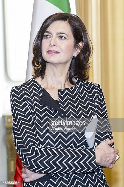 President of the Chamber of Deputies Laura Boldrini attends an organization held within the International Women's Day by the women who escaped from...