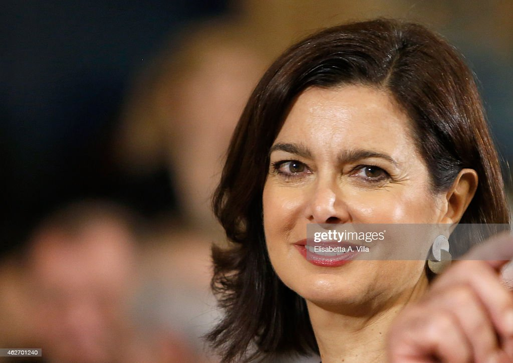 President of the Chamber of Deputies <a gi-track='captionPersonalityLinkClicked' href=/galleries/search?phrase=Laura+Boldrini&family=editorial&specificpeople=4364882 ng-click='$event.stopPropagation()'>Laura Boldrini</a> attends the President of Italian Republic Sergio Mattarella Ceremony of Installation at Quirinale on February 3, 2015 in Rome, Italy. Sicilian judge Mattarella is the 12th President of the Italian Republic.