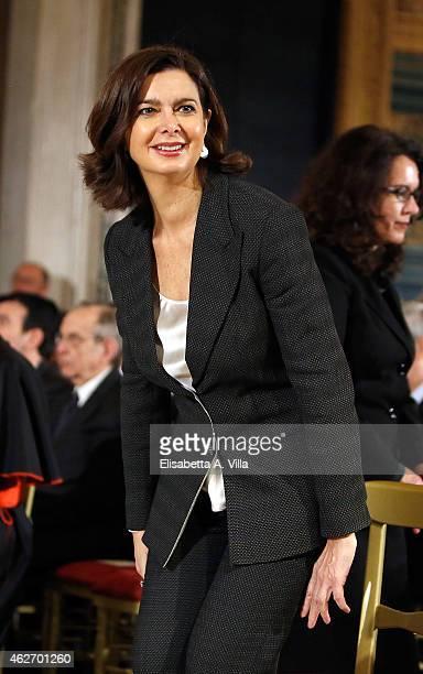 President of the Chamber of Deputies Laura Boldrini attends the President of Italian Republic Sergio Mattarella Ceremony of Installation at Quirinale...