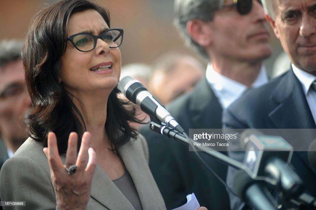 President of the Chamber of Deputies Laura Boldrini makes a speech in Duomo square during celebrations to mark the 68th Festa Della Liberazione on April 25, 2013 in Milan, Italy.The symbolic celebration day commemorates the Liberation of Italy and the Italian resistance movement after the Nazi occupation army left Northern Italy on April 25, 1945.