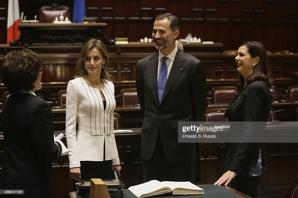 President of the Chamber of Deputies <a gi-track='captionPersonalityLinkClicked' href=/galleries/search?phrase=Laura+Boldrini&family=editorial&specificpeople=4364882 ng-click='$event.stopPropagation()'>Laura Boldrini</a> (R) receives Queen Letitia of Spain, King Felipe of Spain (2nd R) at Camera Dei Deputati <a gi-track='captionPersonalityLinkClicked' href=/galleries/search?phrase=Laura+Boldrini&family=editorial&specificpeople=4364882 ng-click='$event.stopPropagation()'>Laura Boldrini</a> at Palazzo Montecitorio during the Spanish Royal visit to Rome on November 19, 2014 in Rome, Italy.