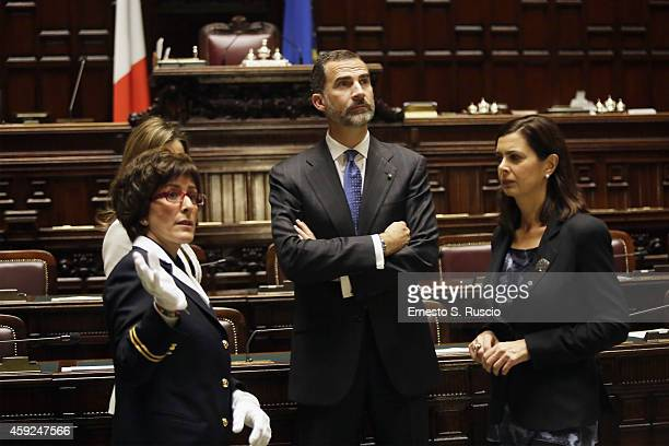 President of the Chamber of Deputies Laura Boldrini receives Queen Letitia of Spain King Felipe of Spain at Camera Dei Deputati Laura Boldrini at...