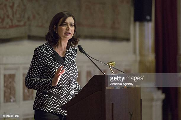 President of the Chamber of Deputies Laura Boldrini speaks during an organization held within the International Women's Day by the women who escaped...