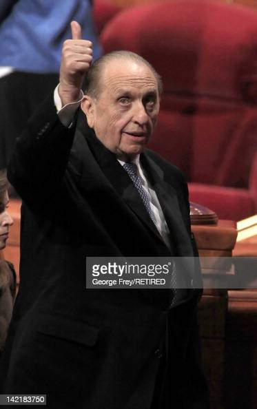 President of the Church of Jesus Christ of Latter Day Saints Thomas Monson gives a thumb's up to the faithful after the first session of the 182nd...