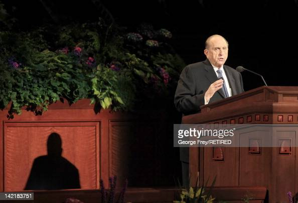 President of the Church of Jesus Christ of Latter Day Saints Thomas Monson speaks to the faithful during the first session of the 182nd Annual...