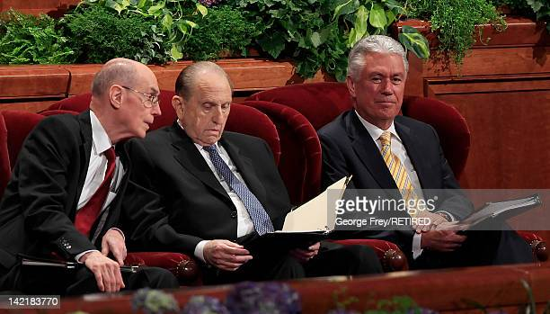 President of the Church of Jesus Christ of Latter Day Saints Thomas Monson along with his first counselor Henry Eyring and his second counselor...