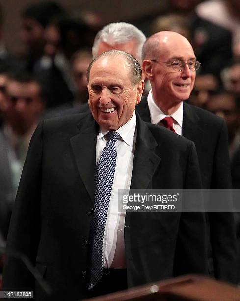 President of the Church of Jesus Christ of Latter Day Saints Thomas Monson arrives with his first counselor Henry Eyring for the first session of the...
