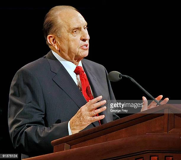 President of the Church of Jesus Christ of Latter Day Saints Thomas Monson opens the start of the 179th SemiAnnual General Conference of the church...