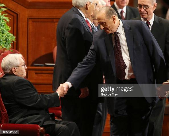 President of the Church of Jesus Christ of LatterDay Saints Thomas Monson right greets President of the Quorum of the Twelve Apostles Boyd Packer...