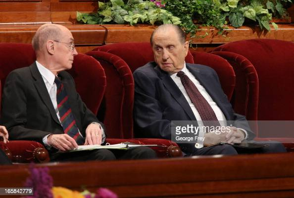 President of the Church of Jesus Christ of LatterDay Saints Thomas Monson right along with his counselor Henry Eyring left confer before the first...