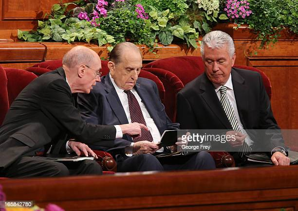 President of the Church of Jesus Christ of LatterDay Saints Thomas Monson center along with his counselors Henry Eyring left and Dieter Uchtdorf...