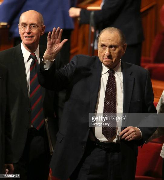 President of the Church of Jesus Christ of LatterDay Saints Thomas Monson right along with his first counselors Henry Eyring left wave to the...