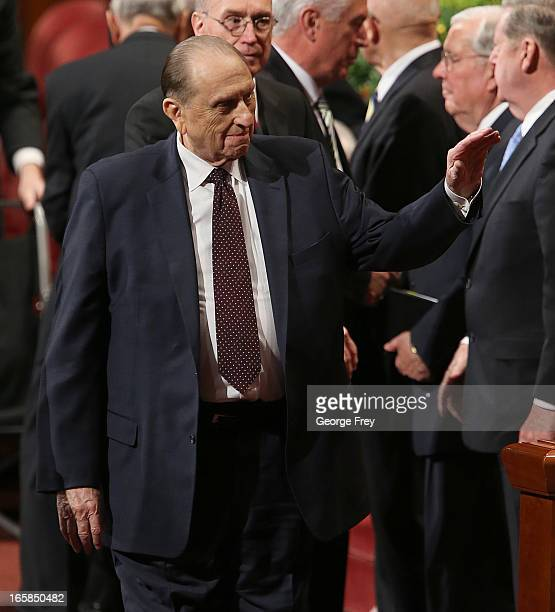 President of the Church of Jesus Christ of LatterDay Saints Thomas Monson waves to the faithful as he leaves the first session of the 183rd Annual...