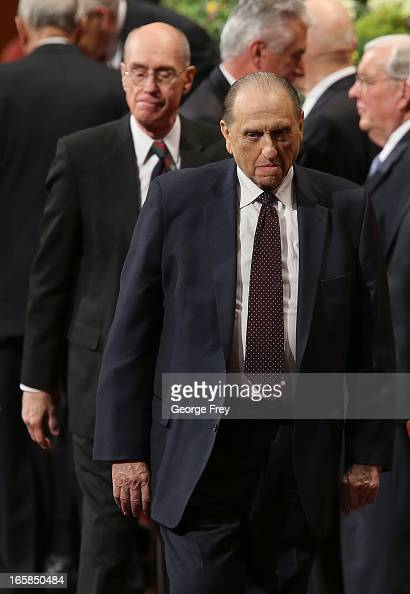 President of the Church of Jesus Christ of LatterDay Saints Thomas Monson right along with his first counselors Henry Eyring left leave the first...