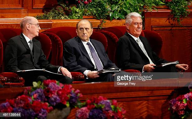 President of the Church of Jesus Christ of LatterDay Saints Thomas Monson with his First Counselors Henry Eyring and Second Counselor Dieter Uchtdorf...