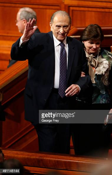 President of the Church of Jesus Christ of LatterDay Saints Thomas Monson waves as he leaves the Conference Center after the second session of the...