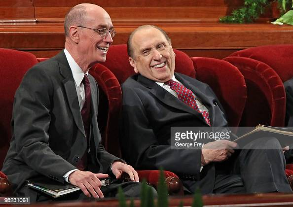 President of the Church of Jesus Christ of LatterDay Saints Thomas Monson shares a light moment with his first councilor Henry Eyring before the...