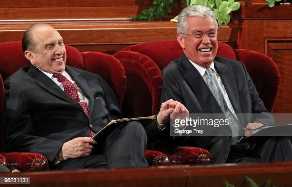 President of the Church of Jesus Christ of LatterDay Saints Thomas Monson shares a light moment with his second councilor Dieter Uchtdorf before the...