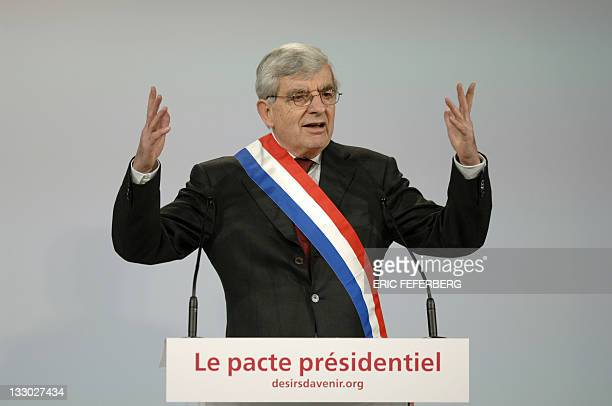 President of the Citizens movement party and mayor of the city of Belfort JeanPierre Chevenement delivers a speech during a campaign meeting of the...