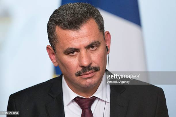 President of the civil committee of Aleppo Hagi Hasan Brita attends a press conference after the meeting with French President Francois Hollande and...