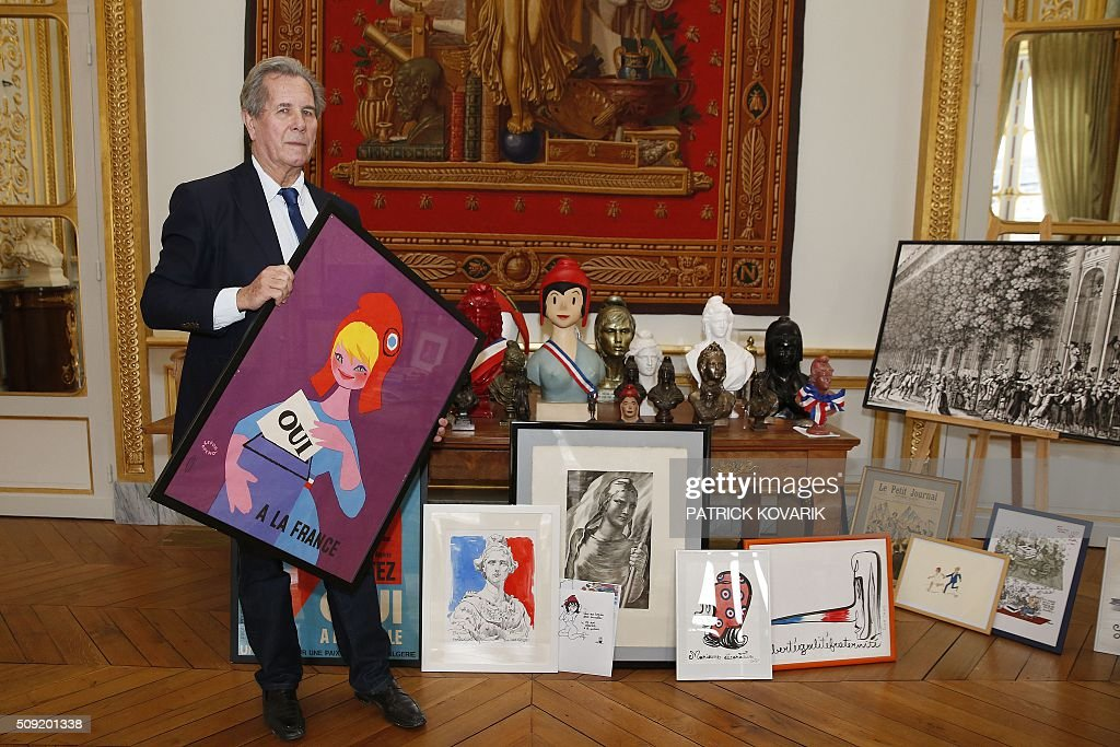 President of the Constitutional Council Jean-Louis Debré poses for a photograph with busts and paintings of Marianne, the national symbol of the French Republic -'Triumph of the Republic'-, at the Constitutional Council located in the Palais Royal in central Paris, on February 9, 2016. / AFP / PATRICK KOVARIK / RESTRICTED TO EDITORIAL USE - MANDATORY MENTION OF THE ARTIST UPON PUBLICATION - TO ILLUSTRATE THE EVENT AS SPECIFIED IN THE CAPTION