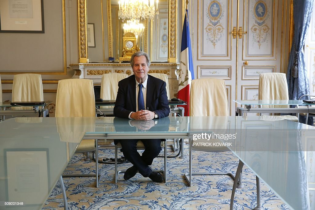 President of the Constitutional Council Jean-Louis Debré poses for a photograph at the Constitutional Council located in the Palais Royal in central Paris, on February 9, 2016. / AFP / PATRICK KOVARIK