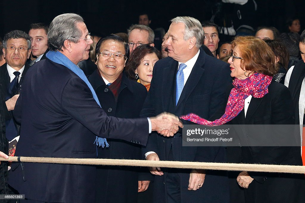 President of the Constitutional Council Jean-Louis Debre, China Culture Minister Cai Wu and French Prime Minister Jean-Marc Ayrault with his wife Brigitte Ayrault watch the Bartabas show whyle the 'Nuit De La Chine' - Opening Night at Grand Palais on January 27, 2014 in Paris, France.