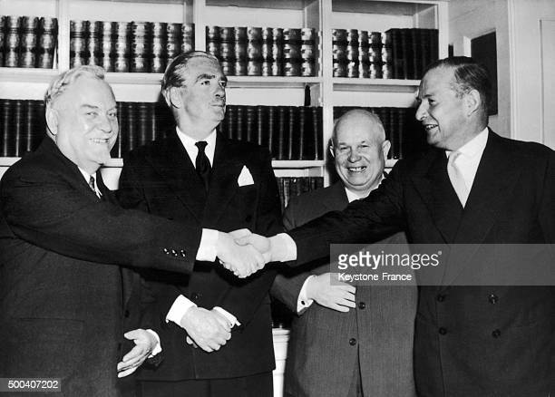 President of the Council of ministers Nikolai Boulganin the British Prime Minister Anthony Eden the Soviet number one Nikita Khrushchev and the...