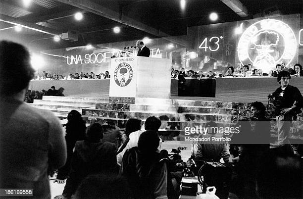 President of the Council of Ministers of the Italian Republic and Secretary of the Italian Socialist Party Bettino Craxi giving a speech at 43rd...