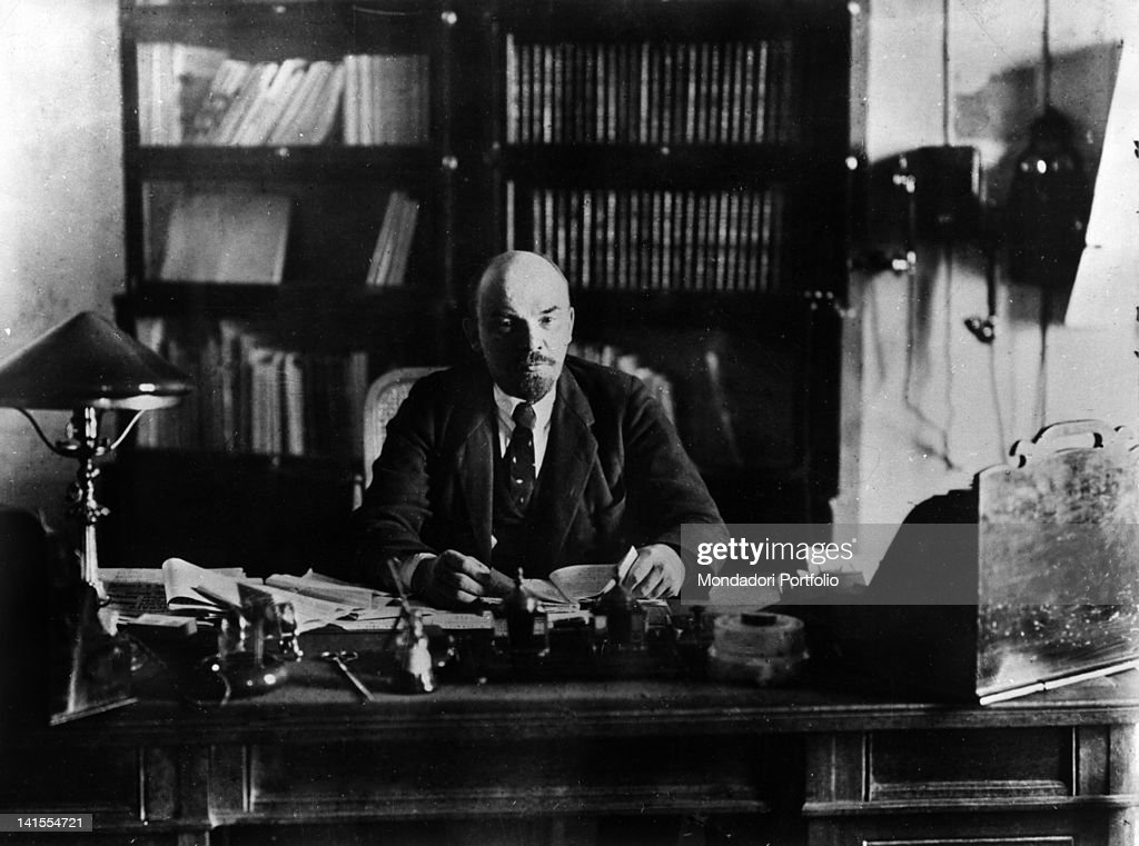 President of the Council of People's Commissars of the USSR Lenin sitting at his desk. USSR, 1910s