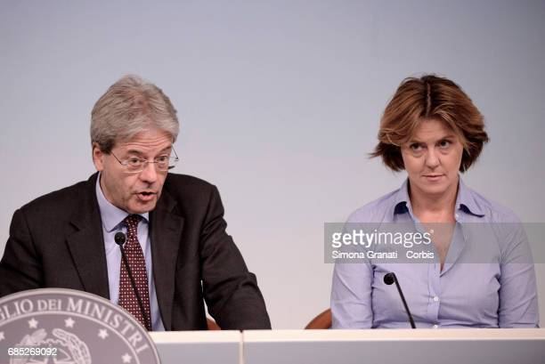 President of the Council Paolo Gentiloni and Minister of Health Beatrice Lorenzin during the press conference at Palazzo Chigi on May 19 2017 in Rome...