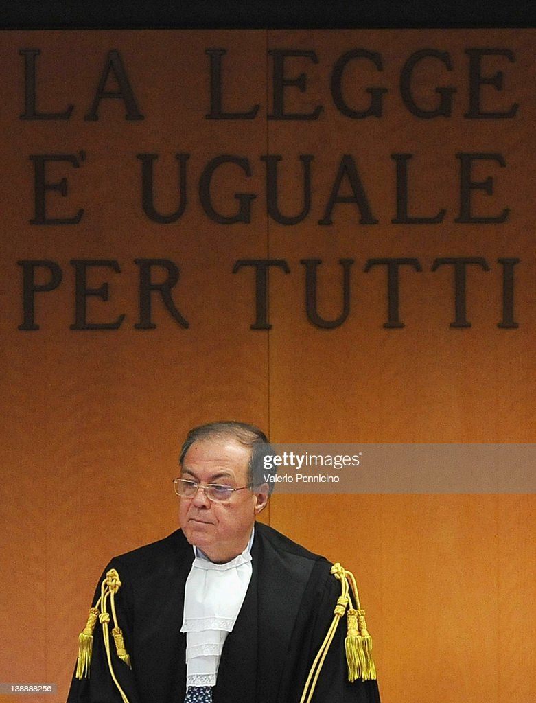 President of the court Giuseppe Casalbore attends the Eternit asbestos trial verdict at the Turin courthouse on February 13, 2012 in Turin, Italy. The Turin court has convicted Swiss billionaire Stephan Schmidheiny and Belgian baron Jean-Louis de Cartier for 16 years each after they were accused of involuntary manslaughter and disregard for workplace safety regulations, after a three year trial. Around 1500 relatives and friends of the alleged 3000 victims attended the final day of the trial with 160 foreign delegations attending from all over the world.