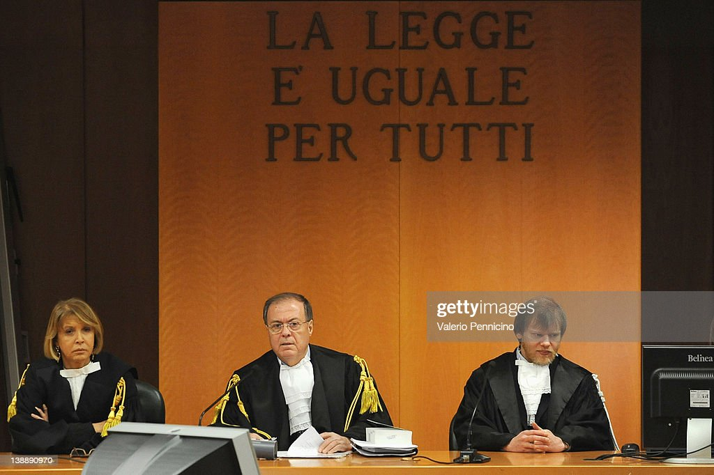 President of the court Giuseppe Casalbore (C) attends the Eternit asbestos trial verdict at the Turin courthouse on February 13, 2012 in Turin, Italy. The Turin court has convicted Swiss billionaire Stephan Schmindheiny and Belgian baron Jean-Louis de Cartier for 16 years each after they were accused of involuntary manslaughter and disregard for workplace safety regulations, after a three year trial. Around 1500 relatives and friends of the alleged 3000 victims attended the final day of the trial with 160 foreign delegations attending from all over the world.