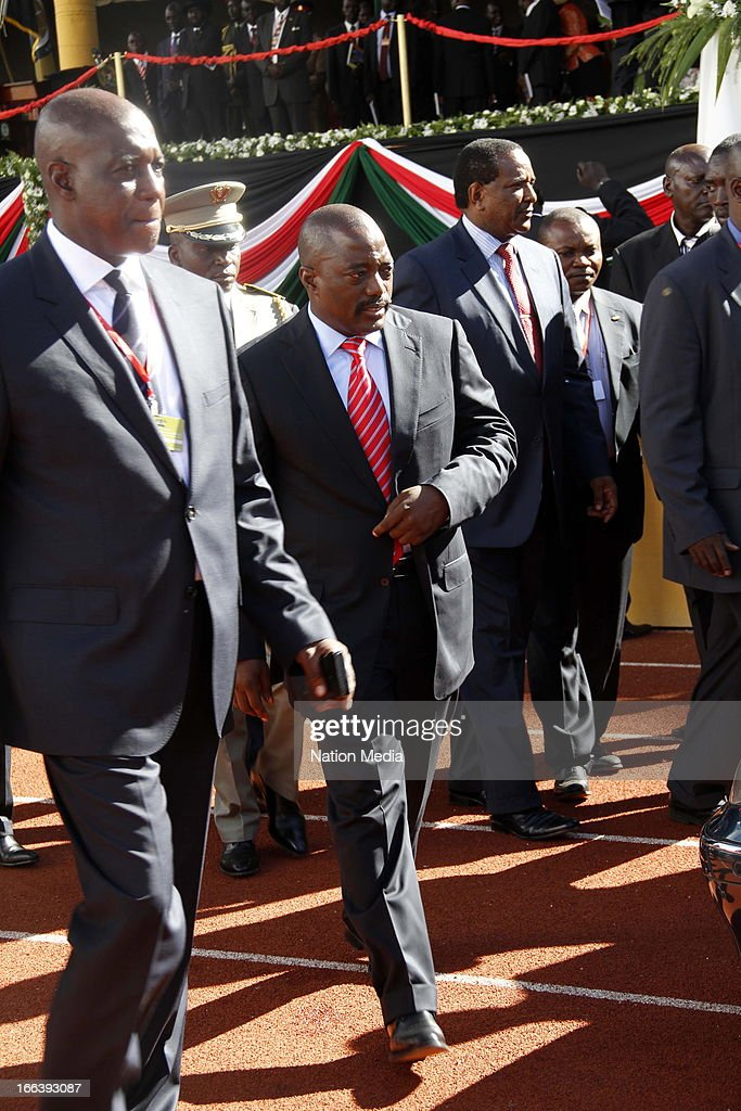 President of the Democratic Republic of Congo, Joseph Kabila, arrives at the Inauguration ceremony of President Uhuru Kenyatta on April 9, 2013 in Nairobi, Kenya. Kenyatta received masses of support from the citizens of Kenya despite being under investigation for crimes against humanity.