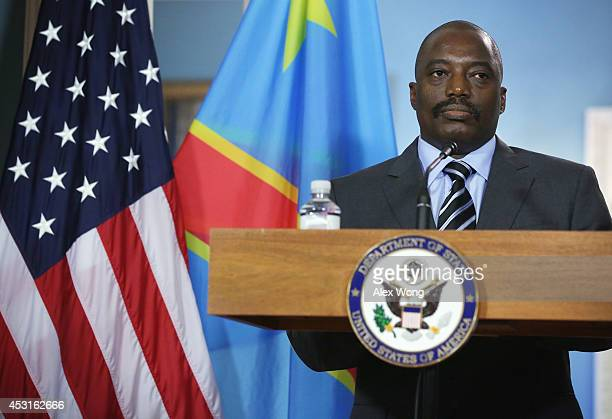 President of the Democratic Republic of Congo Joseph Kabila listens to remarks before a bilateral meeting with US Secretary of State John Kerry...