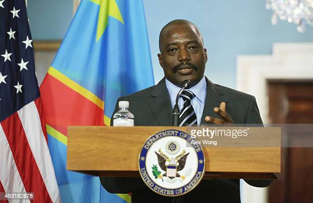 President of the Democratic Republic of Congo Joseph Kabila make remarks to members of the media before a bilateral meeting with US Secretary of...