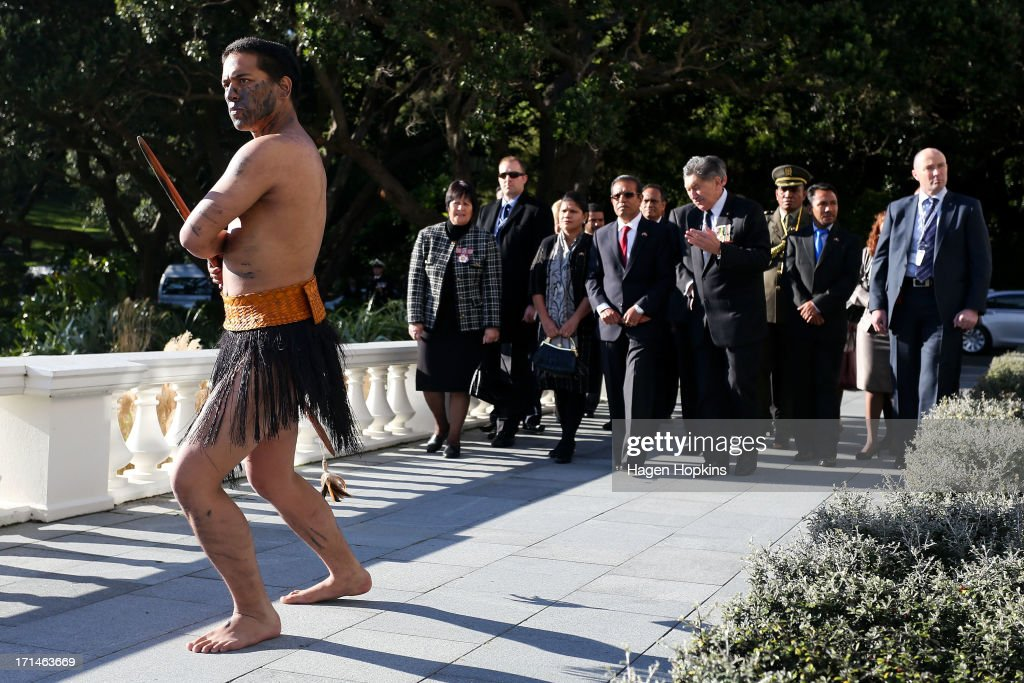 President of the Democratic Republic of Timor-Leste, Taur Matan Ruak along with cultural advisor Lewis Moeau, is greeted with a traditional Maori welcome during a State Welcome at Government House on June 25, 2013 in Wellington, New Zealand. President Taur Matan Ruak of the Democratic Republic of Timor-Leste is in Wellington on an official visit until Thursday, June 27.