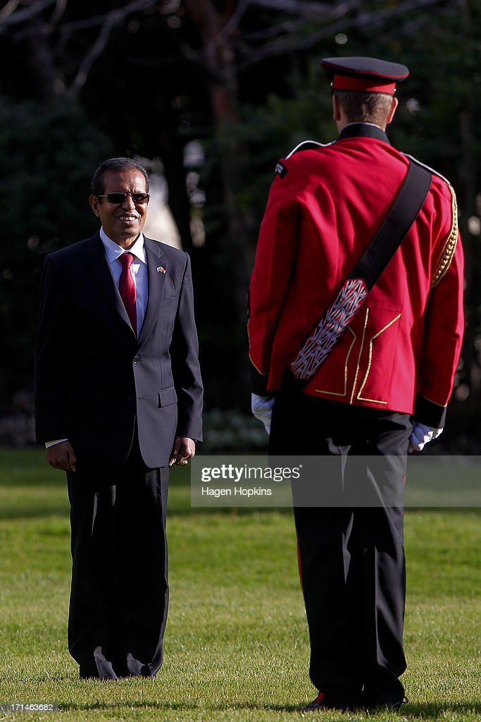 President of the Democratic Republic of Timor-Leste, Taur Matan Ruak inspects the band during a State Welcome at Government House on June 25, 2013 in Wellington, New Zealand. President Taur Matan Ruak of the Democratic Republic of Timor-Leste is in Wellington on an official visit until Thursday, June 27.